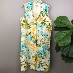 Tommy Bahama Floral 100% Linen Button Down Dress